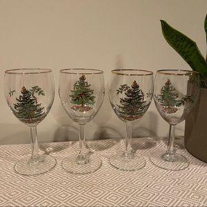 Spode gold rim wine glasses Christmas tree